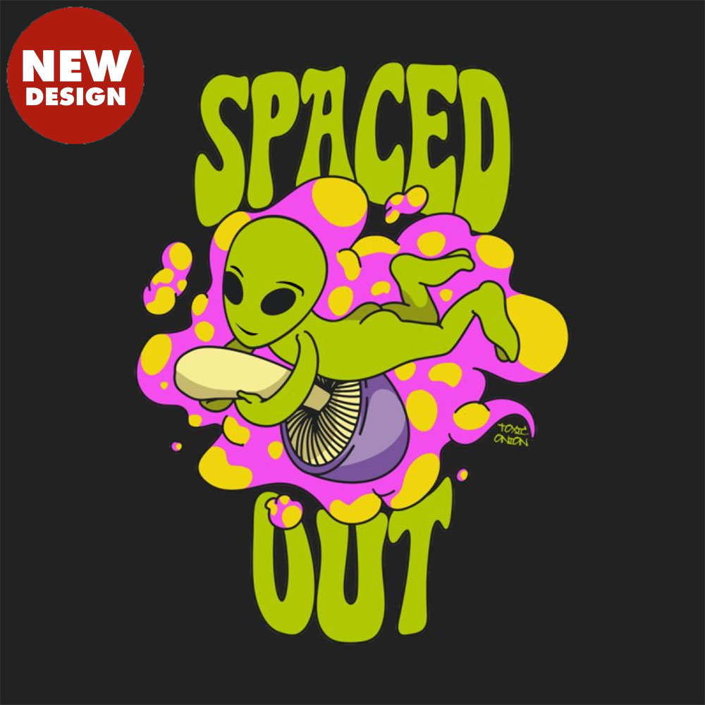 Spaced Out Mushroom Riding Alien