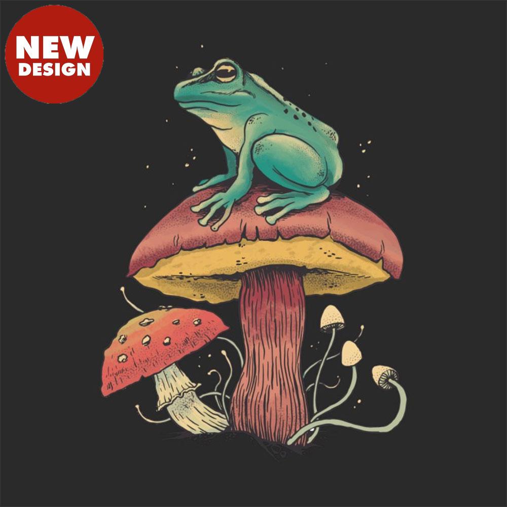 Frog Sitting Atop Mushroom